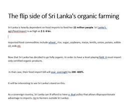 The flip side of Sri Lanka's organic farming